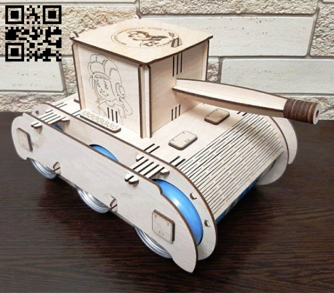 Tank beer holder E0012824 file cdr and dxf free vector download for laser cut