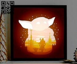 The Mandalorian light box E0012936 file cdr and dxf free vector download for laser cut