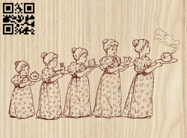 The childrens carry tea E0012657 file cdr and dxf free vector download for laser engraving machines