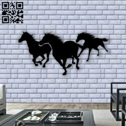 Three horses mural E0012849 file cdr and dxf free vector download for laser cut