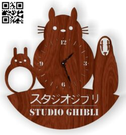 Tottorro wall clock E0012919 file cdr and dxf free vector download for laser cut