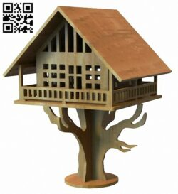 Tree house E0012778 file cdr and dxf free vector download for laser cut