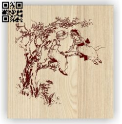 Two children on a tree E0012600 file cdr and dxf free vector download for laser engraving machines