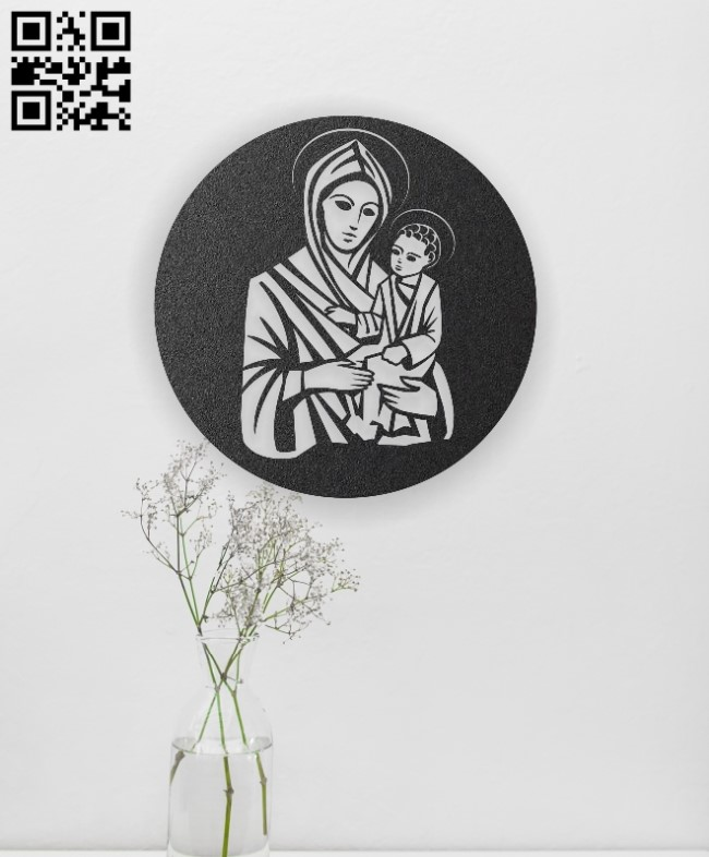 Virgin Mary holding Jesus E0012940 file cdr and dxf free vector download for laser engraving machines