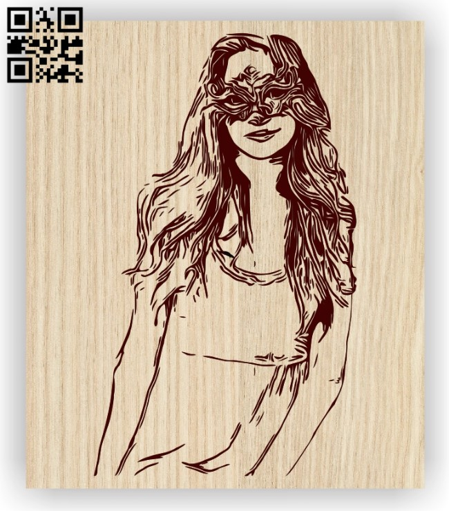Woman with mask E0012721 file cdr and dxf free vector download for laser engraving machines