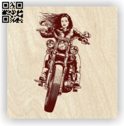Woman with motorcycle E0012604 file cdr and dxf free vector download for laser engraving machines