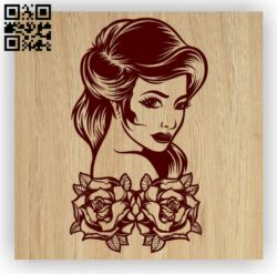 Woman with roses E0012659 file cdr and dxf free vector download for laser engraving machines