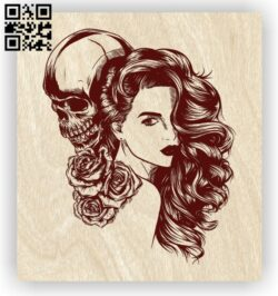 Woman with skull E0012605 file cdr and dxf free vector download for laser engraving machines