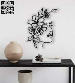 Women's face with flowers E0012582 file cdr and dxf free vector download for laser cut plasma