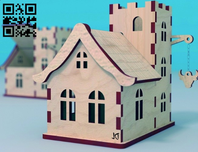 Wooden house E0012769 file cdr and dxf free vector download for laser cut