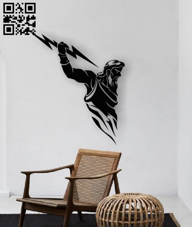 Zeus with lightning E0012603 file cdr and dxf free vector download for laser cut plasma