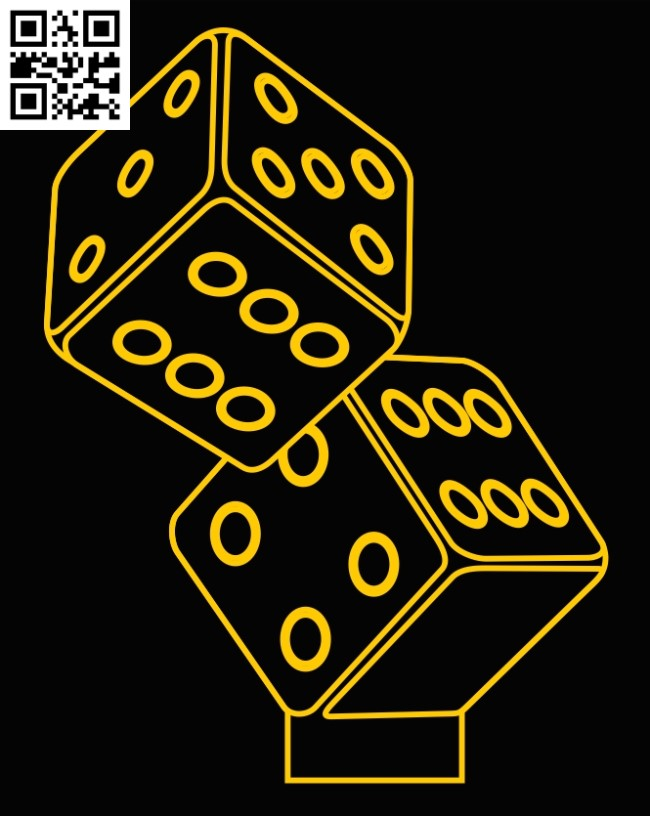 3D illusion led lamp Dices E0012954 file cdr and dxf free vector download for laser engraving machines
