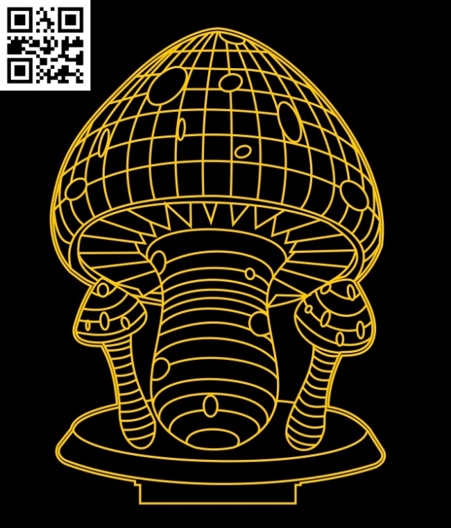 3D illusion led lamp Mushrooms E0012954 file cdr and dxf free vector download for laser engraving machines