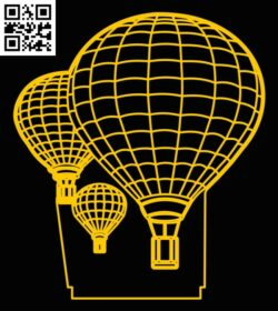 3D illusion led lamp air balloon E0012953 file cdr and dxf free vector download for laser engraving machines