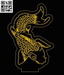 3D illusion led lamp fish E0012956 file cdr and dxf free vector download for laser engraving machines