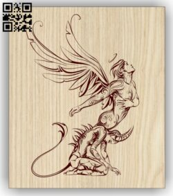 Angel and Demon E0012983 file cdr and dxf free vector download for laser engraving machines