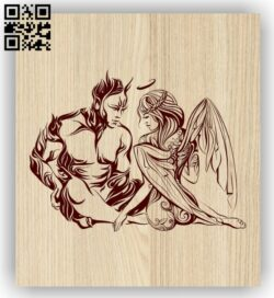 Angel and Demon E0013193 file cdr and dxf free vector download for laser engraving machines