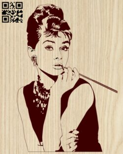 Audrey Hepburn E0013027 file cdr and dxf free vector download for laser engraving machines