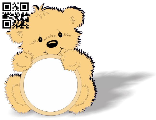 Bear photo frame E0013173 file cdr and dxf free vector download for laser cut