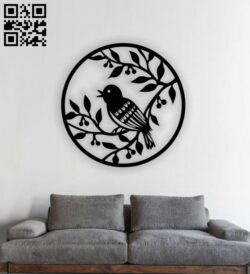 Bird on tree E0013089 file cdr and dxf free vector download for laser cut plasma