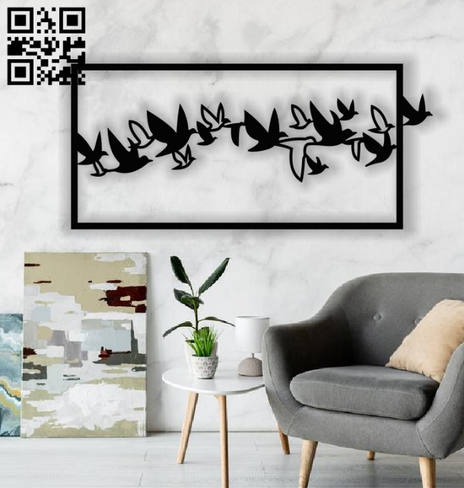 Birds panel E0013013 file cdr and dxf free vector download for laser cut plasma