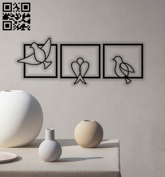 Birds wall dercor E0013016 file cdr and dxf free vector download for laser cut plasma