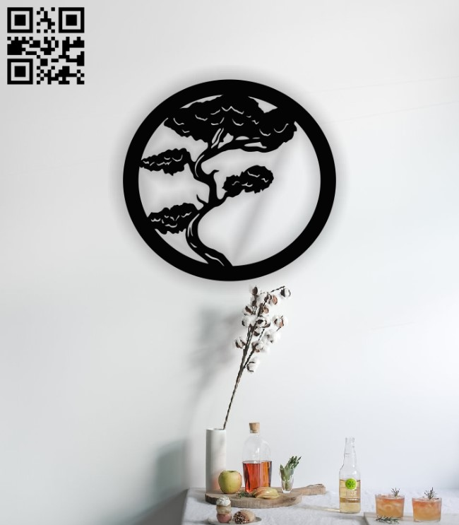 Bonsai tree wall decor E0013020 file cdr and dxf free vector download for laser cut plasma