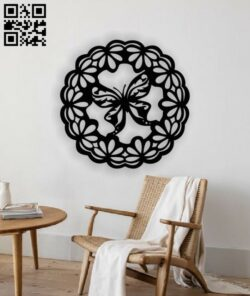 Butterfly with wreath wall decor E0013023 file cdr and dxf free vector download for laser cut plasma
