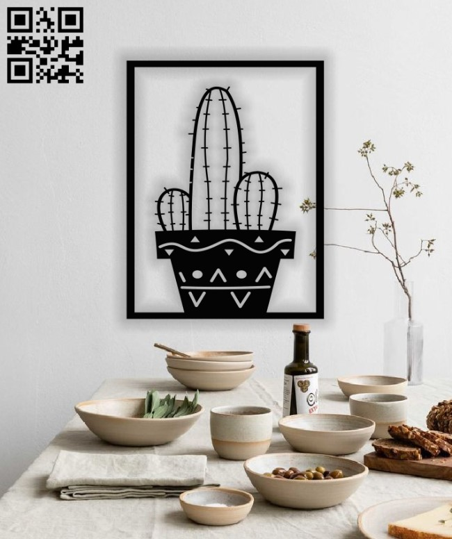 Cactus panel E0013021 file cdr and dxf free vector download for laser cut plasma