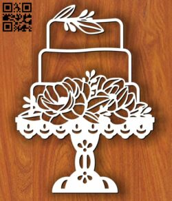 Cake with Peony Flowers E0013059 file cdr and dxf free vector download for laser cut