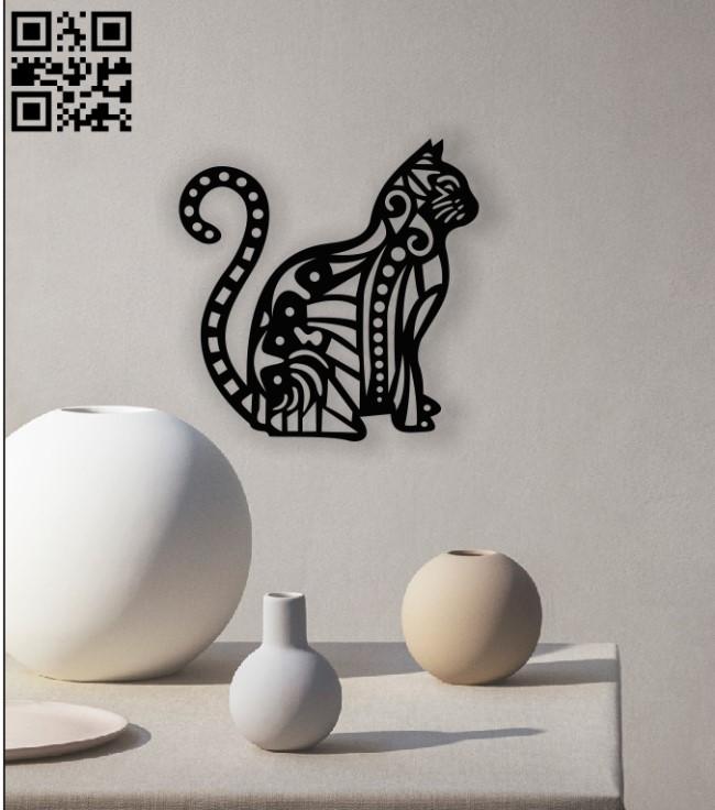 Cat wall decor E0013046 file cdr and dxf free vector download for laser cut plasma