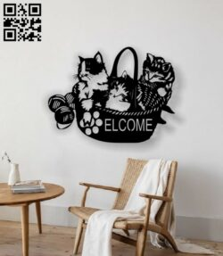 Cats welcome E0012949 file cdr and dxf free vector download for laser cut plasma