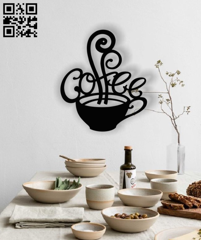 Coffee cup wall decor E0013012 file cdr and dxf free vector download for laser cut plasma