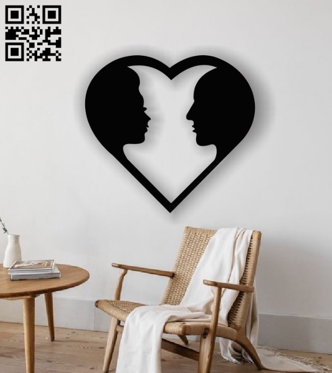 Couple with heart E0013005 file cdr and dxf free vector download for laser cut plasma