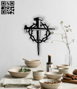 Cross wall decor E0013092 file cdr and dxf free vector download for laser cut plasma