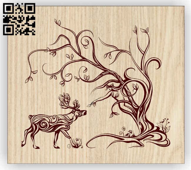 Deer with tree E0012982 file cdr and dxf free vector download for laser engraving machines