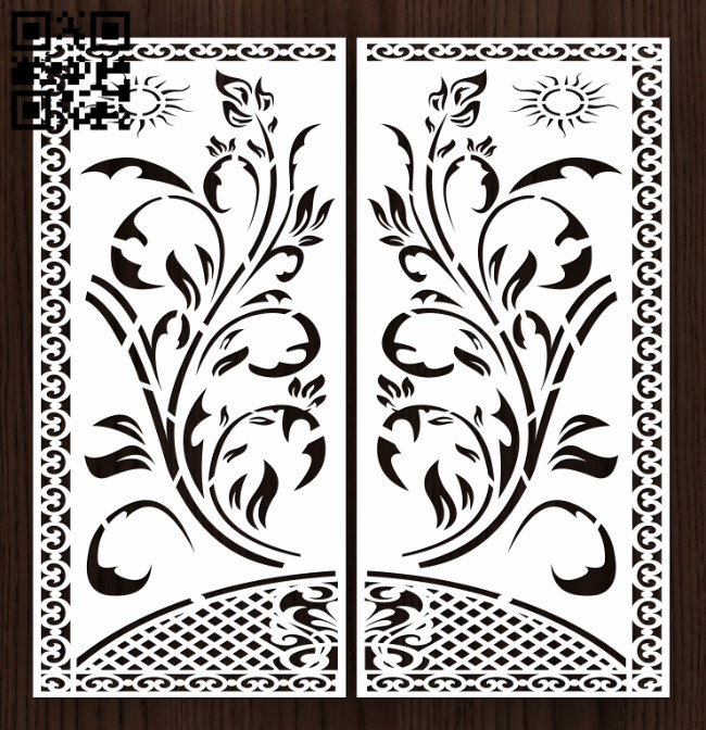 Design pattern door E0013195 file cdr and dxf free vector download for laser cut cnc