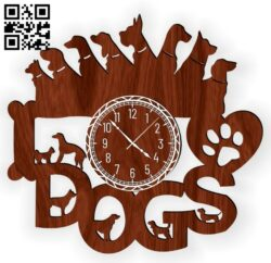 Dog wall clock E0012944 file cdr and dxf free vector download for laser cut