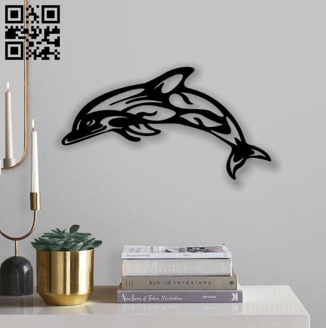 Dolphin wall decor E0013045 file cdr and dxf free vector download for laser cut plasma