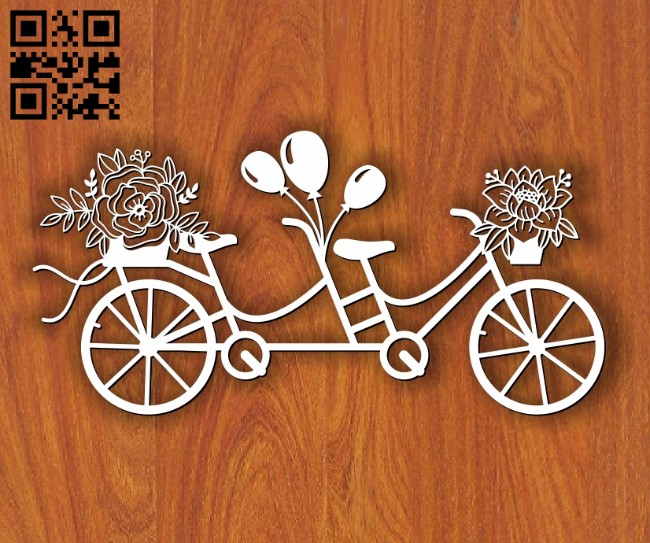 Double bike E0013140 file cdr and dxf free vector download for laser cut
