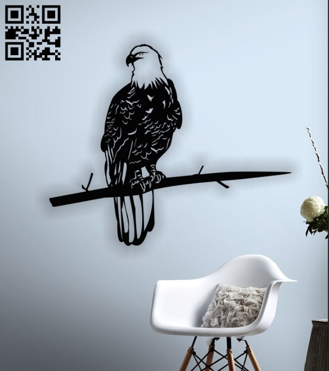 Eagle on the tree E0012965 file cdr and dxf free vector download for laser cut plasma