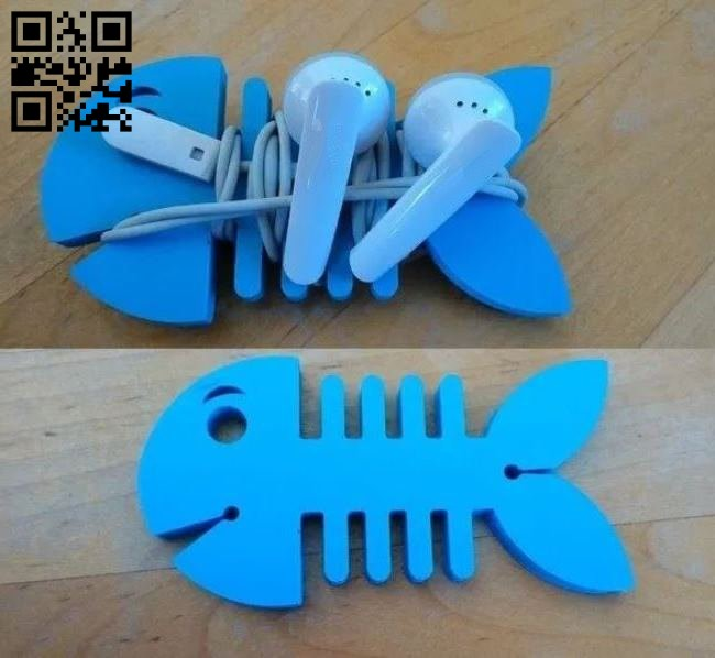 Fish earbud holder E0013114 file cdr and dxf free vector download for laser cut