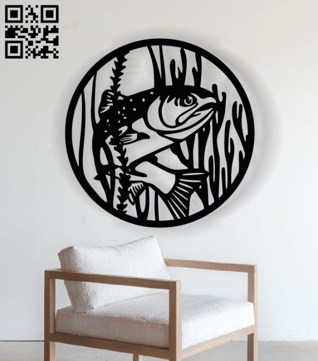Fish panel E0013010 file cdr and dxf free vector download for laser cut