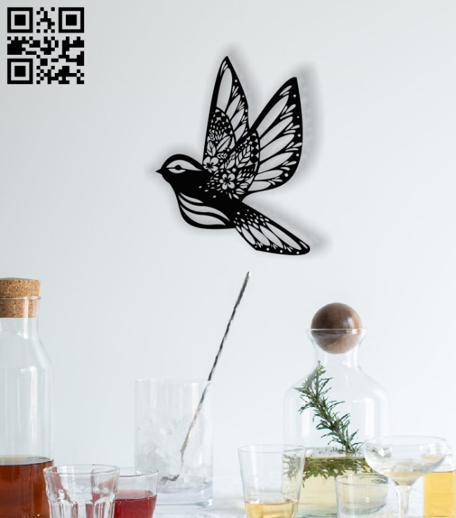 Floral bird E0012962 file cdr and dxf free vector download for laser cut plasma