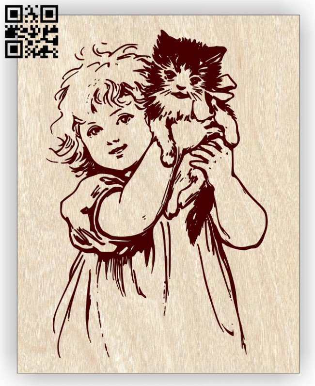 Girl with a kitten E0012979 file cdr and dxf free vector download for laser engraving machines