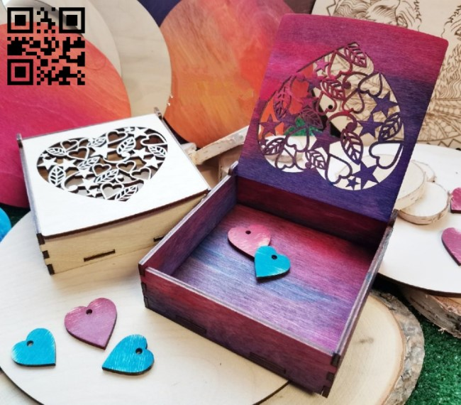 Heart box E0013058 file cdr and dxf free vector download for laser cut