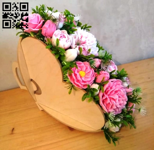 Heart flower basket E0013184 file cdr and dxf free vector download for laser cut