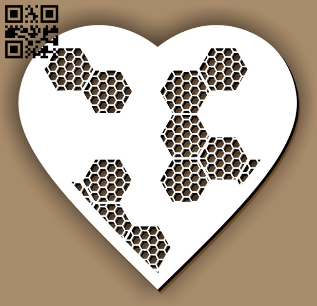Heart with honeycomb E0012978 file cdr and dxf free vector download for laser cut