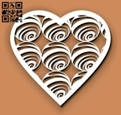 Heart with spiral E0012975 file cdr and dxf free vector download for laser cut