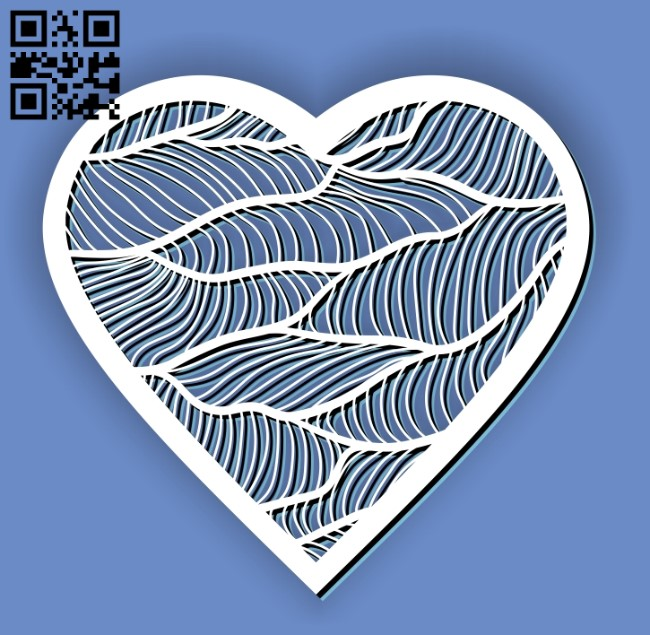 Heart with wavy E0012977 file cdr and dxf free vector download for laser cut